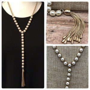 Jewelry - Gold Tone Circles Link Faux Pearl Tassel Necklace